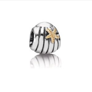 Authentic Pandora Starfish Seashell Charm Silver